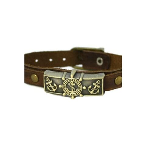 Studded Anchor Leather Essential Oil Bracelet Unisex