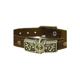Studded Anchor Leather Essential Oil Bracelet Unisex