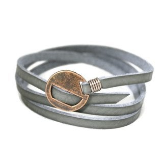 Wrapped Gray Essential Oil Leather Bracelet