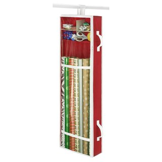 Whitmor Premium Clear Hanging Gift Wrapping Paper Organizer Comes with Handles - Perfect for the Hol