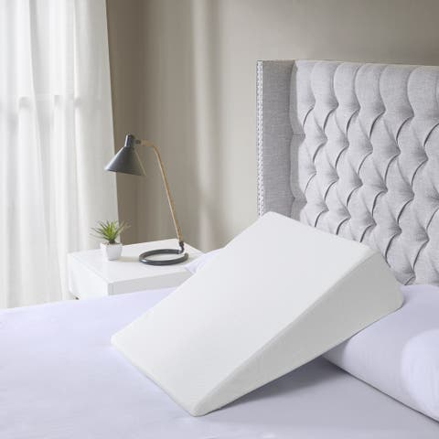 Sleep Philosophy White Memory Foam Wedge Pillow with Incline Design