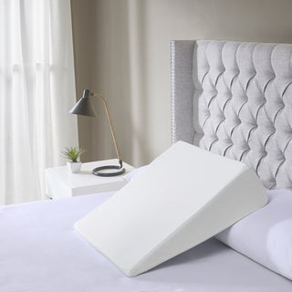 Flexapedic by Sleep Philosophy White Memory Foam Wedge Pillow with Incline Design