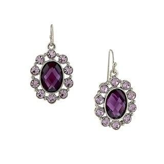 1928 Jewelry Silver Tone Purple Oval Faceted Drop Earrings