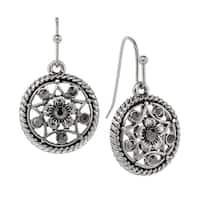 1928 Jewelry Silver Tone Hematite Round Drop Earrings