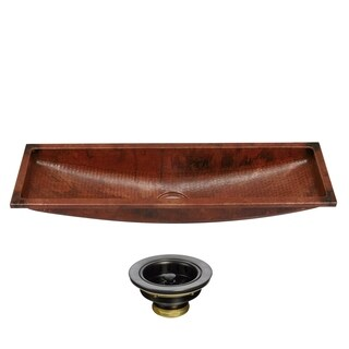 Unikwities 35 x 10 x 6.5 inch Undermount Copper Trough Sink with Drain - Sierra Copper