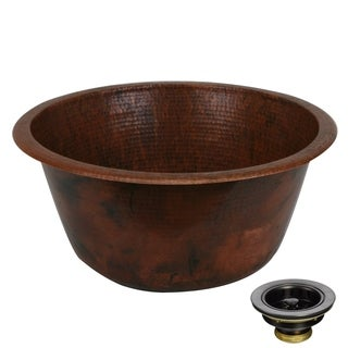 Unikwities 18 X 8 inch Round Fired Undermount Copper Sink with Drain
