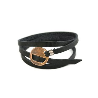 Wrapped Black Leather Essential Oil Bracelet