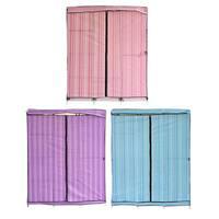 "Pink 68""+70"" Folding Closet Wardrobe Clothes Stainless Rack Organizer Storage"