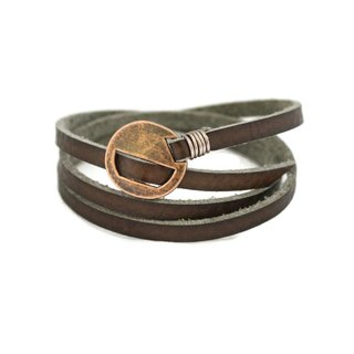 Wrapped Brown Leather Essential Oil Bracelet