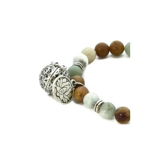 Canyon Natural Stone Essential Oil Diffuser Bracelet Lotus Charm