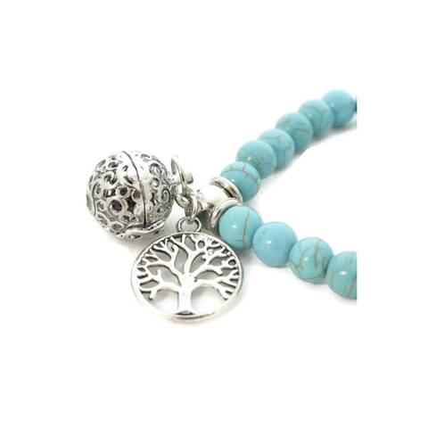 Aqua Turquoise Stone Essential Oil Diffuser Bracelet Tree of Life Charm