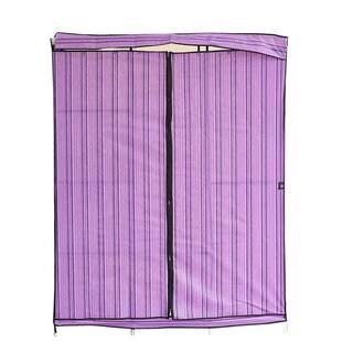 "Purple 68""+70"" Folding Closet Wardrobe Clothes Stainless Rack Organizer Storage"