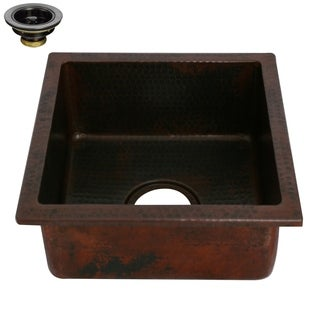 Unikwities 14 X 14 X 6.5 inch Square Undermount Copper Sink with Drain
