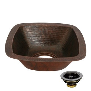 Unikwities 12 X 12 X 5 inch Square Undermount Copper Sink with Drain