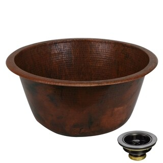 Unikwities 18 X 8 inch Round Fired Drop In Copper Sink with Drain