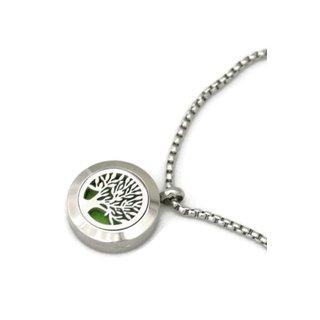 Blooming Tree of Life Stainless Steel 20-millimeter Essential Oil Diffuser Bracelet
