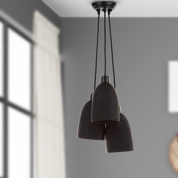 Safavieh Lighting 11.8-inch Tres Shade 3-light Black Pendant Lamp
