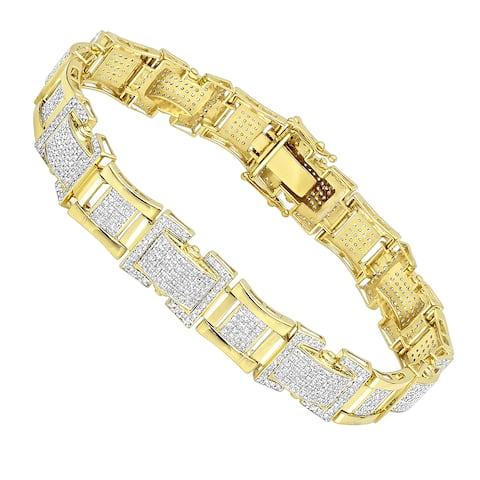 Luxurman Solid 10K Gold Diamond Bracelet for Men 3.1ct