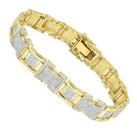 Luxurman Solid 10K Gold Diamond Bracelet for Men 3.1ct