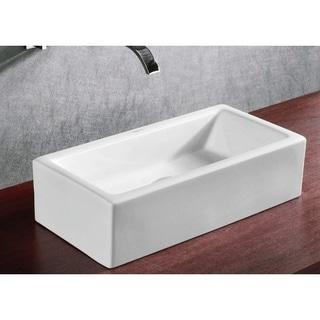 Caracalla CA4130-No Hole Rectangular White Ceramic Vessel Bathroom Sink