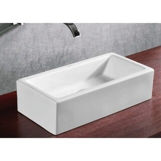 Caracalla CA4130-No Hole Rectangular White Ceramic Vessel Bathroom Sink