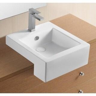 Caracalla CA4076C White Ceramic Square 1-hole Semi-recessed Bathroom Sink