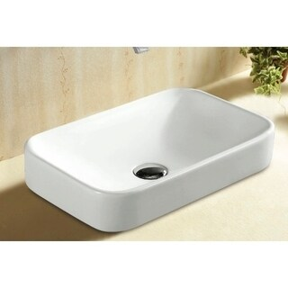Caracalla CA4120A-No Hole Rectangular White Ceramic Self riming Bathroom Sink