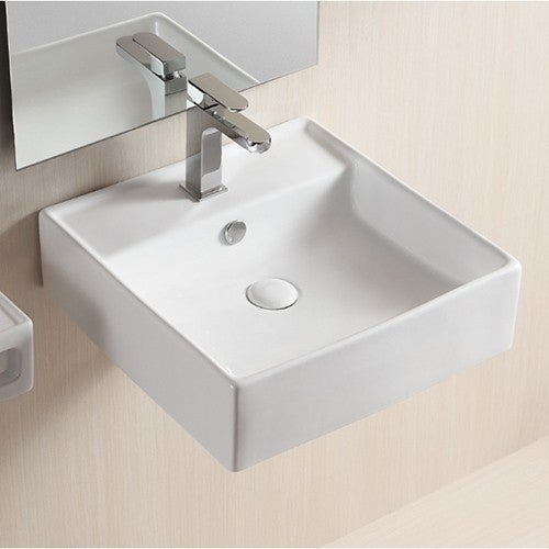 Caracalla Ca4032 White Ceramic Square Wall Mounted Or Vessel Bathroom Sink