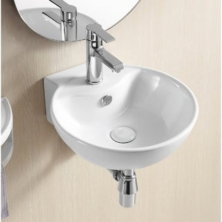 Caracalla CA4033 One-hole White Ceramic Wall-mounted Round Bathroom Sink