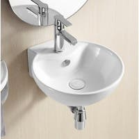 Caracalla CA4033-One Hole Round White Ceramic Wall Mounted Bathroom Sink