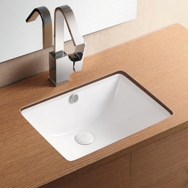 Nameeks Caracalla Ca4070 White Ceramic No Hole Rectangular Undermount Bathroom Sink