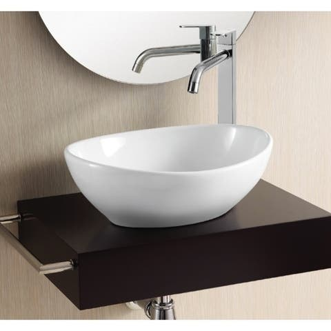 Caracalla CA4047-No Hole Oval White Ceramic Vessel Bathroom Sink