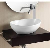 Caracalla CA4047 White Ceramic No Hole Oval Vessel Bathroom Sink