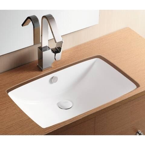 Caracalla CA40236-No Hole Rectangular White Ceramic Undermount Bathroom Sink