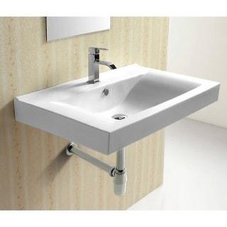 Caracalla CA4270B White Ceramic Rectangular 1 Hole Wall Mounted Bathroom  Sink