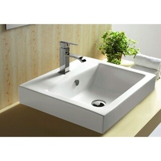 Caracalla CA4034A-One Hole White Ceramic Self riming or Wall Mounted Bathroom Sink