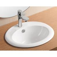 Caracalla CA4055-One Hole Oval White Ceramic Self riming Bathroom Sink
