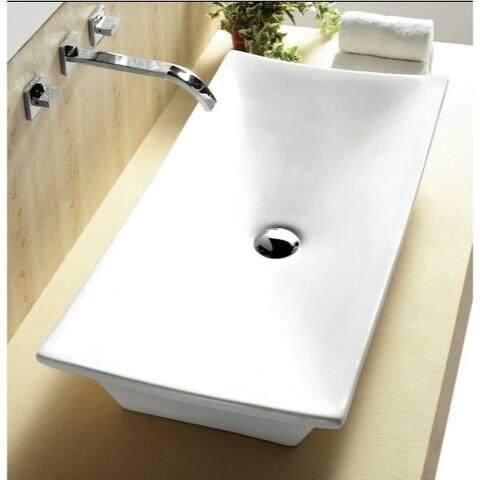 Caracalla CA4277-No Hole Rectangular White Ceramic Vessel Bathroom Sink