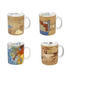 Konitz Set of 4 Assorted Mugs of Knowledge - Mathematics, Chemistry, Geography, History