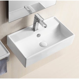 Caracalla CA4335-One Hole Rectangular White Ceramic Wall Mounted Or Vessel Bathroom Sink