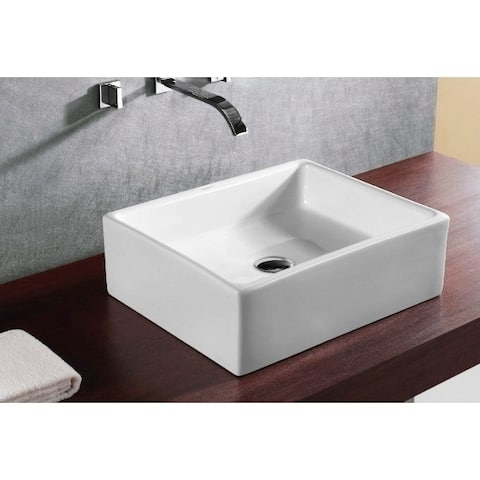 Caracalla CA4158-No Hole Square White Ceramic Vessel Bathroom Sink
