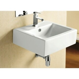 Caracalla CA4034-One Hole Square White Ceramic Wall Mounted or Vessel Bathroom Sink