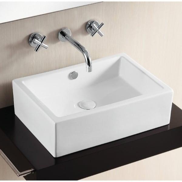 Caracalla CA4532-No Hole Rectangular White Ceramic Vessel Bathroom Sink