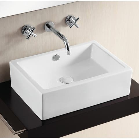 Caracalla CA4532-No Hole Rectangular White Ceramic Vessel Bathroom Sink