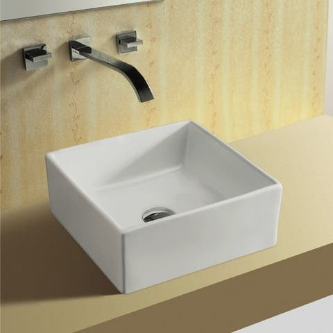 Caracalla CA4169-No Hole Square White Ceramic Vessel Bathroom Sink