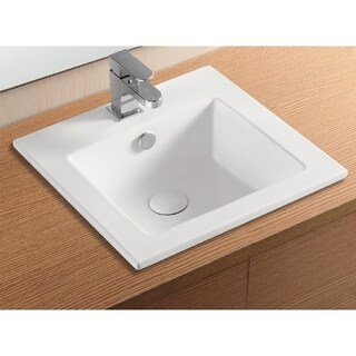 Caracalla CA4583-One Hole Square White Ceramic Self riming Bathroom Sink