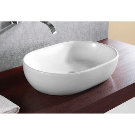 Caracalla CA4916-No Hole Round White Ceramic Vessel Bathroom Sink