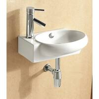 Caracalla CA4522-One Hole Round White Ceramic Wall Mounted or Vessel Bathroom Sink
