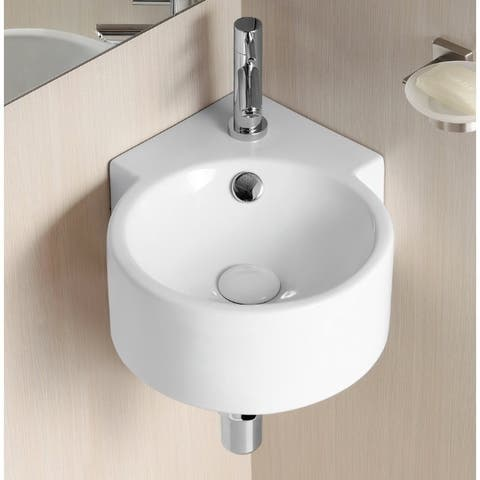 Caracalla CA4296-One Hole Round White Ceramic Wall Mounted Corner Bathroom Sink