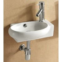 Caracalla CA4522B-One Hole Round White Ceramic Wall Mounted or Vessel Bathroom Sink